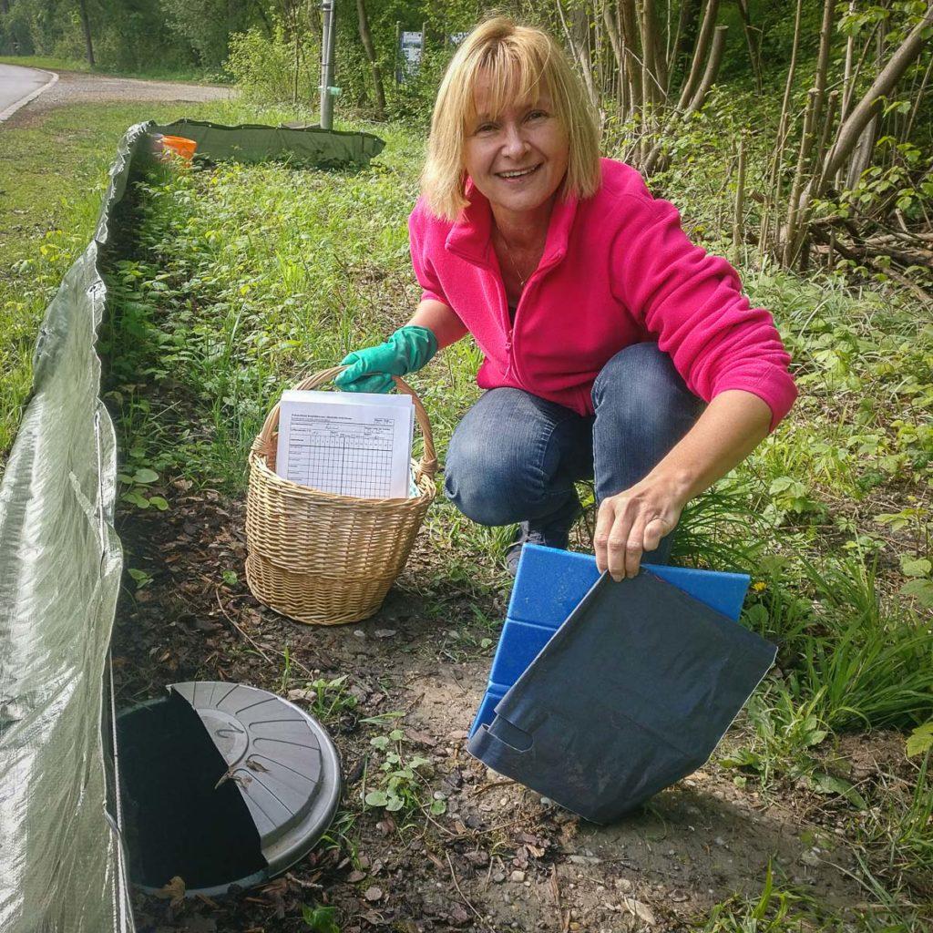 Andrea Rammel - Naturfreundin beim Amphibienzaun